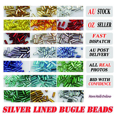 100 4.5mm Silver Lined Bugle Beads Jewelry Craft DIY Sewing Dancing Dress Decor