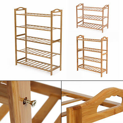 3 4 5 Tier Bamboo Shoe Rack Organizer Wooden Storage Shelves Stand Shelf