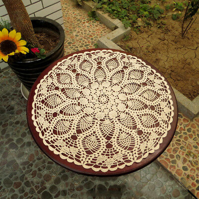 Vintage Hand Crochet Lace Doily Round Table Topper Pineapple Pattern 23inch