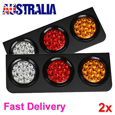 2 X 24V TAIL LIGHTS 63 LED TRUCK UTE TRAILER STOP INDICATOR PAIR 24 Volt NEW