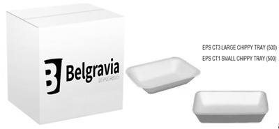 Belgravia Polystyrene Chip Shop Trays CT1 & CT3 Mixed pack Option