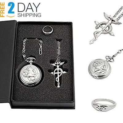 Powshop Fullmetal Alchemist Anime Pocket Watch with Necklace & Ring Watches...