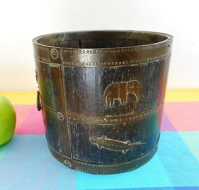 Antique English Oak Brass Wrought Animal Banded Barrel Bucket Planter Jardiniere