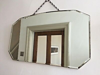 Vintage Frameless Wall Mirror Bevelled Edge Deco 1940s Original Chain 56x33cm