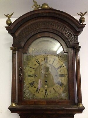 "Fine Walnut 3 Train Musical Long case Clock C.1730. Unrestored 12"" dial."