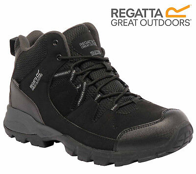 Regatta Mens Holcombe Mid Waterproof Walking Hiking Trail Black Boots
