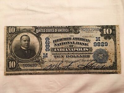 Miscut Error!  $10 National Currency Note, Series 1902, Indianapolis ID, Large