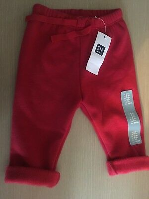 "BNWT New Baby Gap Red Fleece Trousers Pants -Elasticated Waist 0-3M 0-23"" 7-12kg"