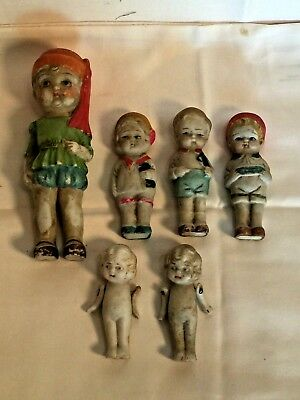 6 Vintage antique porcelain Bisque lot FROZEN CHARLOTTE miniature doll lot JAPAN