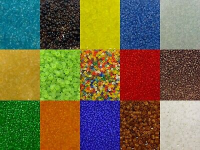 50g glass seed beads - Frosted, size 6/0 (approx 4mm) - choice of colours