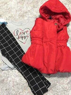 cdaf32cb Tommy Hilfiger girls 3 pc set Size 6 Red Puffer Vest Plaid Leggings Love  Heart