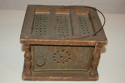 Antique Foot Warmer with Coal Pan - Wood & Punched Metal