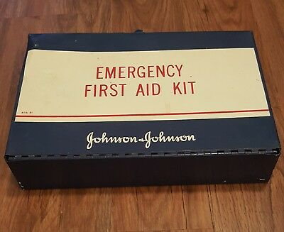 Vintage Johnson And Johnson Emergency First Aid Kit Wall Mount Metal Box