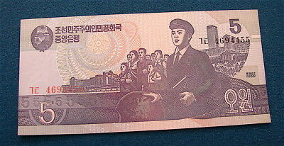 KOREA~N~~1992 5W Currency Note---crispy uncirculated note ----Hard note to get