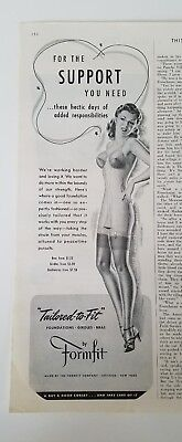 1942 FORMFIT women's tailored to fit one piece girdle bra garters ad