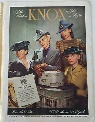 1942 KNOX women's hats veils frosted Felts hat box vintage fashion ad