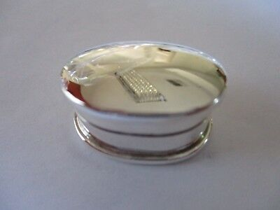 Sterling Silver Pill Box Oval shape Grooved  925 solid silver 1 inch long