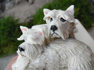 West Highland White Terrier Trio Porcelain Sculptures From Eve Pearce England