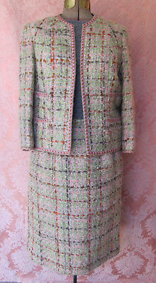 VTG 60s Chanel Inspired S. NELSON PINK TWEED *Saks 5th Ave SUIT-LION HEAD BTNS