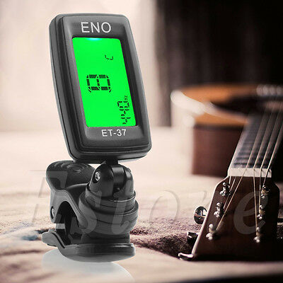 New LCD Clip-On Electronic Digital Guitar Chromatic Bass Violin Ukulele Tuner