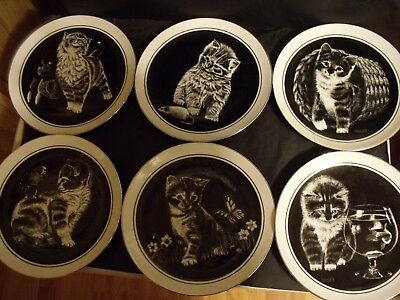 6 DROUGUETT BLACK AND WHITE CAT COLLECTOR PLATES + bonus plate