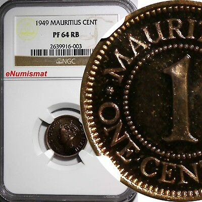 MAURITIUS George VI Bronze PROOF 1949 1 Cent NGC PF64 RB More Red Toned KM# 25