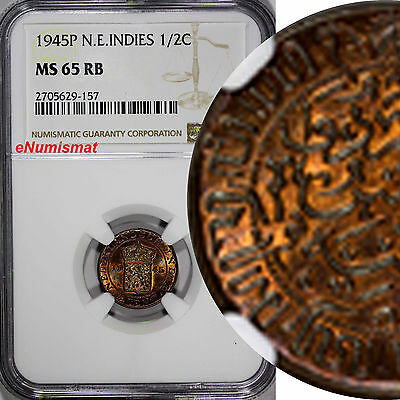 Netherlands East Indies Wilhelmina I Bronze 1945-P 1/2 Cent NGC MS65 RB KM#314.2