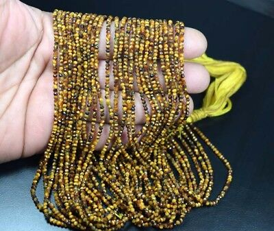 "2 mm 13""  Natural 50 Line Tiger Eye Untreated Beads Strand"