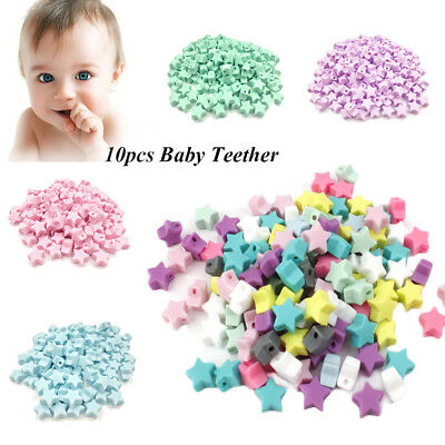 10PCS Silicone Baby Teether DIY Necklace Bracelet Five-pointed Star Model Beads