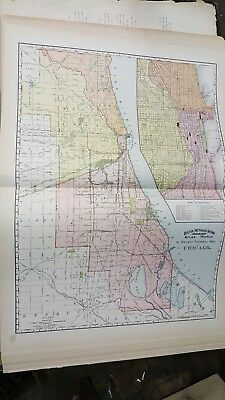 Big 28X21 Antique 1891 Chicago Illinois Dated Map Named Railroad Detailed Color