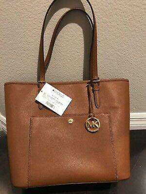 bf5654633a0a  228 MICHAEL KORS Jet Set Item Small Travel Tote Bag Brick Leather ...