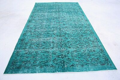 vintage rugs overdyed turkish rug 100x63 inch hand made turquoise area rug 1007