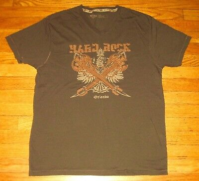 Hard Rock Cafe Orlando, Men's Size Large V-Neck Tee, Brown HR Café Appliqué