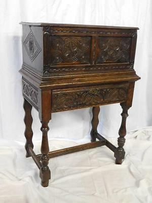 A Good Antique Carved Oak Bible Box Chest On Stand