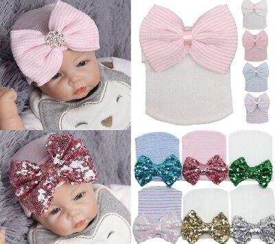 Baby Girl Boy Infant Hat With Bow Cap Hospital Newborn Cosy Beanie