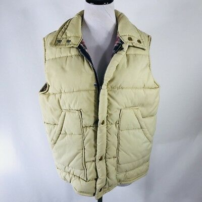 Vintage 80s Beige Tan Flannel Lined Puffy Ski Vest by Cal Craft USA Size Small