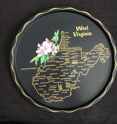 Vintage West Virginia State Souvenir Black Tin Tray Plate