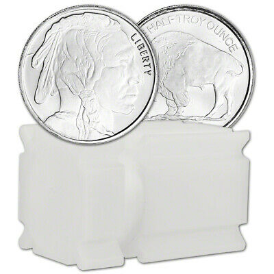 TWENTY (20) 1/2 oz. Highland Mint Silver Round Buffalo .999  Roll Tube of 20