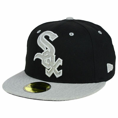 77d9eee20 Chicago White Sox MLB Full Heather XL Logo 59FIFTY Fitted Flat Bill Brim  Hat Cap