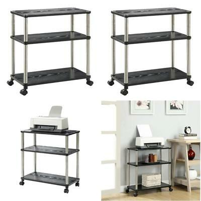 Computer Table Stand Workstation Laptop Printer Cart Rolling Office Fax Storage