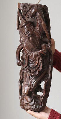 SUPERB Antique CHINA carved wooden immortal woodcarving, signed
