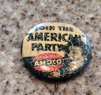 Join The American Oil Party American Amoco Gas Vintage Pin Pinback Button
