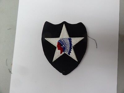 Military Us Army Patch 2Nd Infantry Division Black White Red Color Combat Used