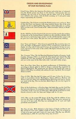 Patriotic~Origin and Development of Our National Flag~10 Flags Flown in USA~1976