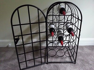 Heavy Solid Iron Wine Rack Cabinet holds 16 bottles Black lockable door EXC cond