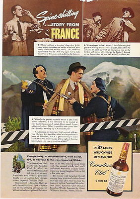 1940 A Story From France Ad For Canadian Club Whiskey