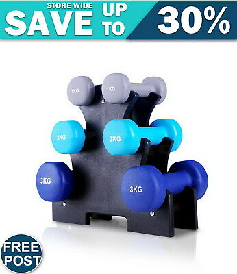 Everfit 6 Piece 12kg Dumbbell Weights Set w/ Stand FAST & FREE POSTAGE WARRANTY