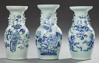 Group of Three Chinese Blue and White Baluster Vases, late 19th c., w... Lot 796