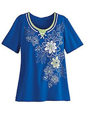 Alfred Dunner shirt size Medium  Bright Blue w/Green and White flowers