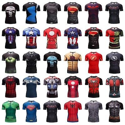 294128826 Superhero Superman Marvel Avengers Panther Fitness Compression 3D T-shirt  Gym